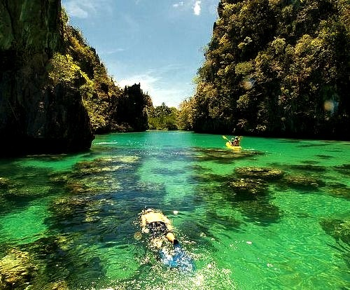 Enjoying the emerald waters of Palawan Islands, Philippines