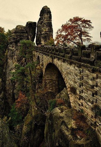 The bridge at Bastei rock formations, Saxon Switzerland, Germany