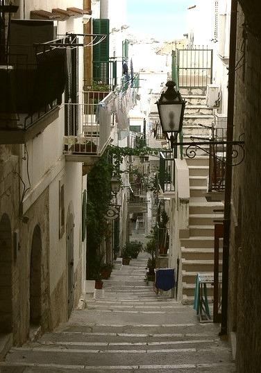 Walking on the narrow streets of Vieste, Puglia, Italy
