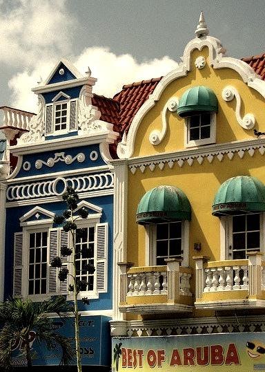 Colorful shops in Oranjestad, the capital of Aruba