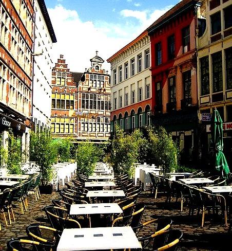 Buildings and cafe on Hoolaard street in Ghent, Belgium