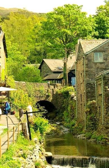 Stock Ghyll river crossing through Ambleside, Cumbria, England