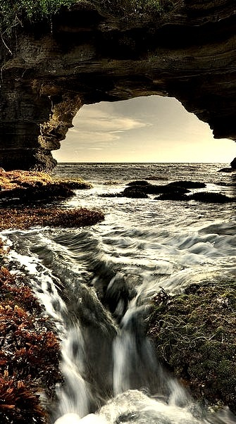 The sea arch of Tanah Lot in Bali, Indonesia