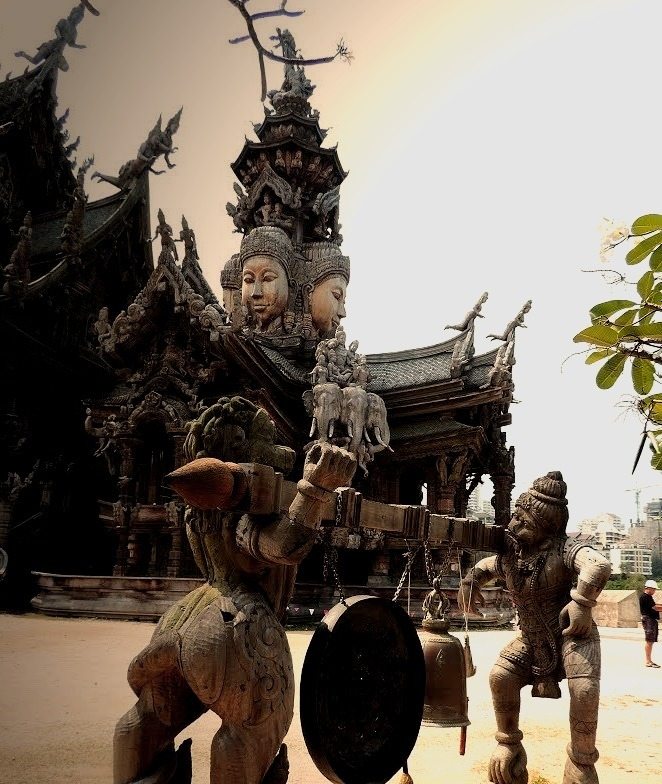 Old wooden style architecture at the Sanctuary of Truth in Pattaya / Thailand